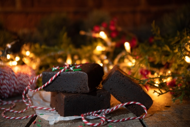 Christmas brownie cake pieces