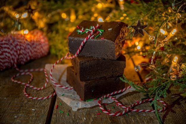 크리스마스 브라우니 케이크 조각