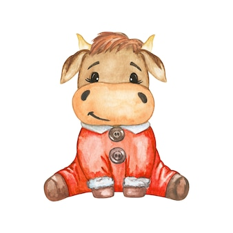 Christmas bull illustration, cute cow in red, funny watercolor bull clipart, new year 2021 synbol