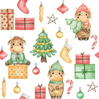 Christmas bulls seamless pattern, cute christmas bulls, new year digital paper, bulls background