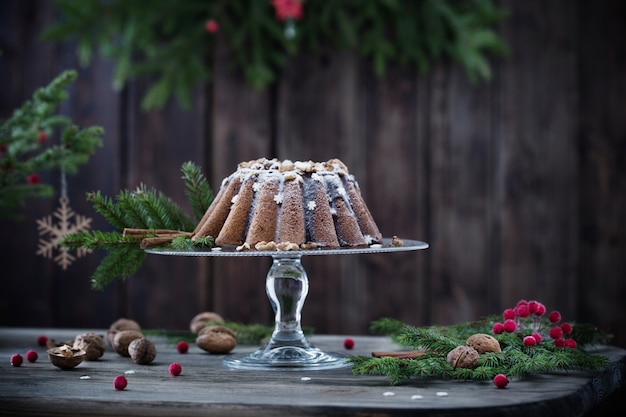 Christmas cake on dark wooden