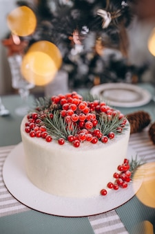 Christmas cake decorated with red berries
