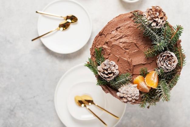 Рождественский торт с шоколадом, украшенный сосновыми шишками и сосной на светлом фоне, вид сверху вниз с изображением выборочного фокуса