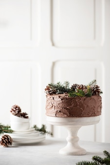 Christmas cake with chocolate decorated with pine cones and pine tree on light background