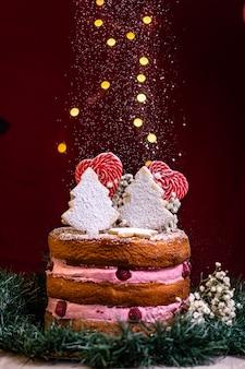 가루 설탕 크리스마스 케이크