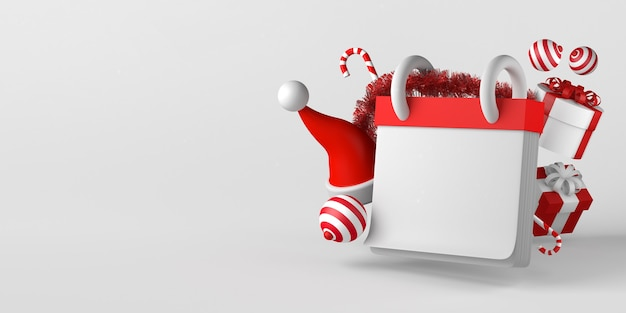 반짝이와 산타 클로스 모자와 함께 크리스마스 달력 모형. 공간을 복사합니다. 3d 그림입니다.