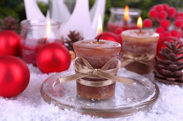 クリスマスキャンドルのクローズアップ