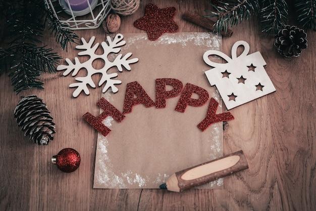 복사 공간이 있는 빈티지 style.photo의 크리스마스 카드와 크리스마스 장식