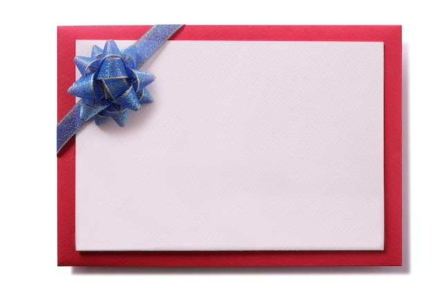 Christmas card blue bow red envelope border