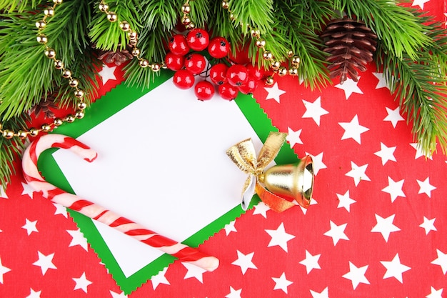 Christmas card on bright background