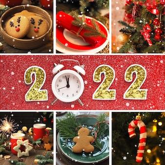 クリスマスカード、クリスマスの写真のコラージュと碑文2022。