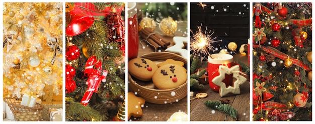 クリスマスカード、クリスマス写真のコラージュ。