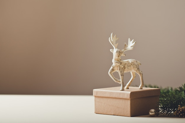 Christmas card conception. christmas toy deer decoration