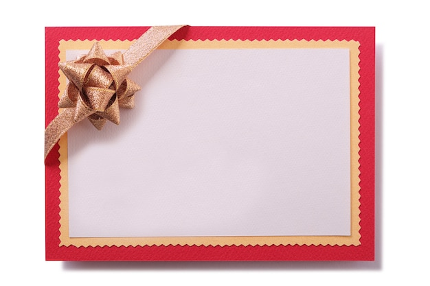 Christmas card gold bow red border frame