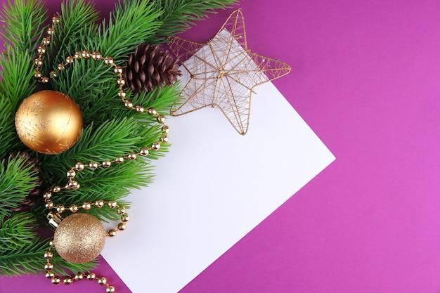 Christmas card on purple background