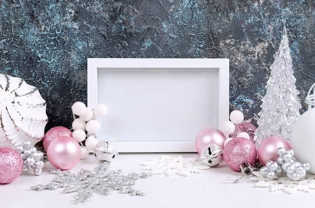 Christmas card with beautiful pink and white decorations