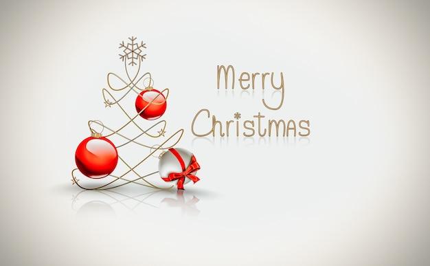 Рождественская открытка с елкой и шарами на светлом фоне