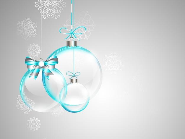 Рождественская открытка со стеклянными елочными шарами