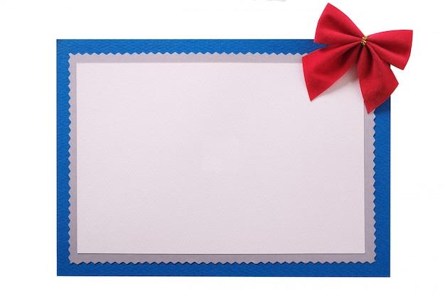 Рождественская открытка с красным бантом в рамке