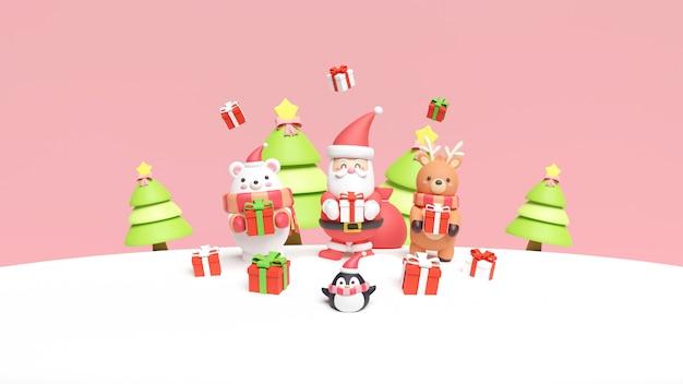 Christmas card with santa, bear and reindeer