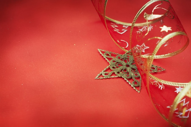 Christmas card with space and christmas decoration