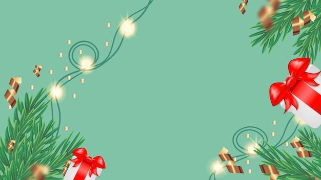 가문비나무 나뭇가지와 밝은 배경에 조명이 있는 gerlinds가 있는 크리스마스 카드. 텍스트를 위한 장소입니다. 휴일 카드입니다.