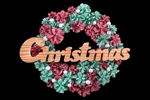 Рождественская открытка с венком изолированной копией пространства