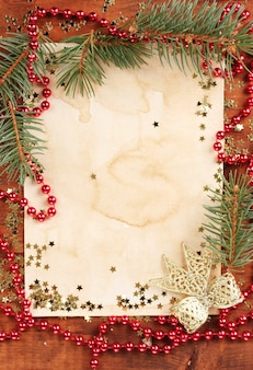 Christmas card on wooden table