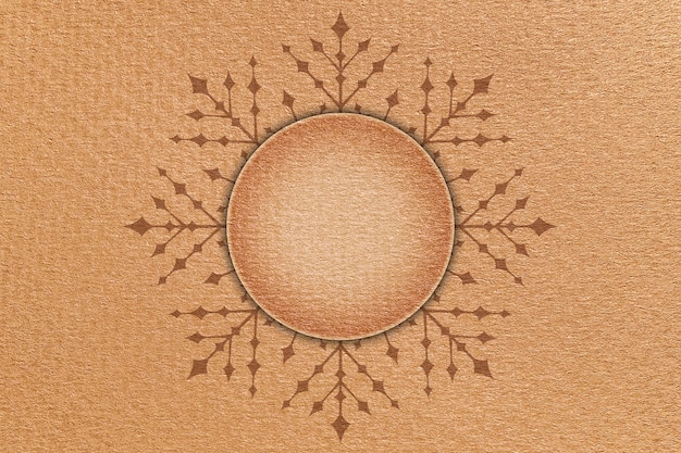 Christmas cardboard background with snowflake and round signboard in center.