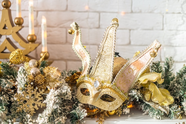 Christmas carnival mask gold color