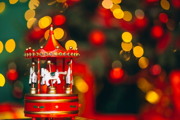 Christmas carousel close up with bokeh background