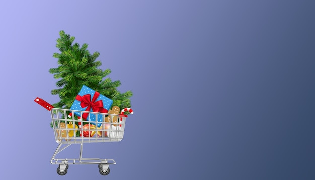 Christmas cart with presents and celebration objects