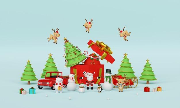 Рождественский праздник с санта-клаусом и друзьями 3d-рендеринга