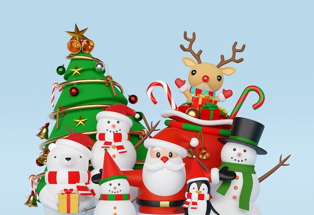 サンタクロースと友達の3 dレンダリングとクリスマスのお祝い