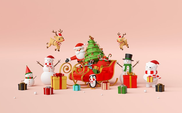 Christmas celebration with santa claus and friends 3d rendering