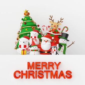 Christmas celebration with santa claus and friends background