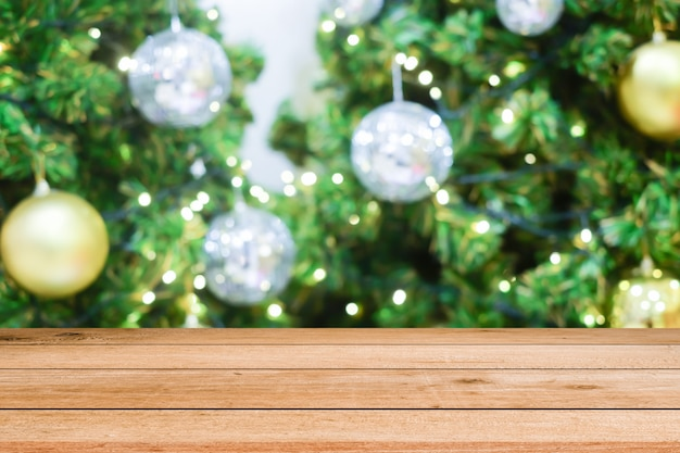 Christmas celebrations decorations background with wooden plank
