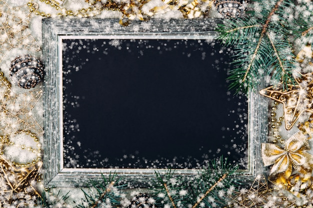 Christmas chalk board with silver frame