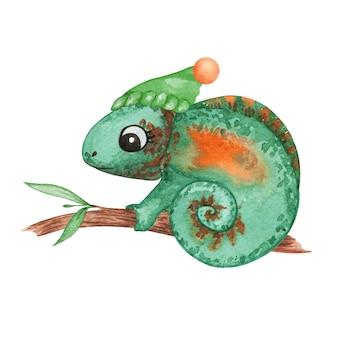 Christmas chameleon stock illustration, cute watercolor chameleon clipart, new year animals decor