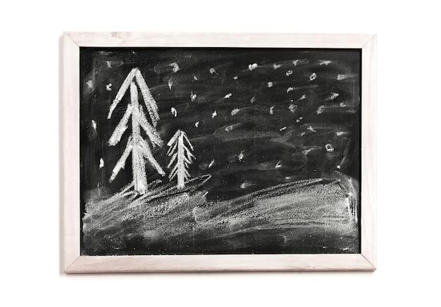 Christmas children chalk drawing on black chalkboard