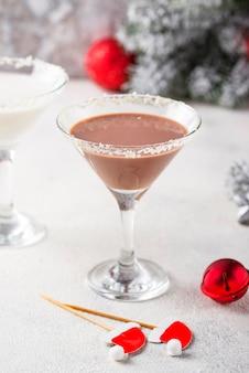 Christmas chocolate snowflake martini cocktail