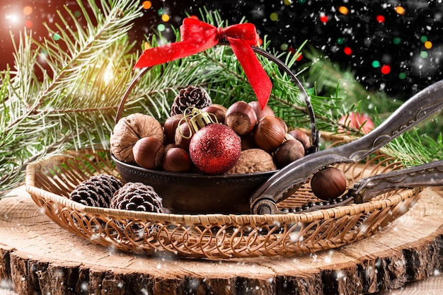Christmas christmas composition on wooden background