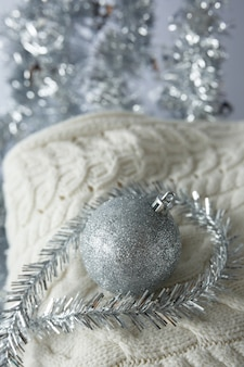 Christmas christmas toy ball on a knitted sweater