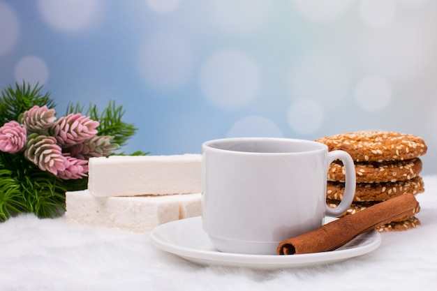 Christmas coffee and ginger cookies with sweets