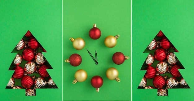 Christmas collage.christmas tree cut out on the green background and clock with red and gold balls. close-up.