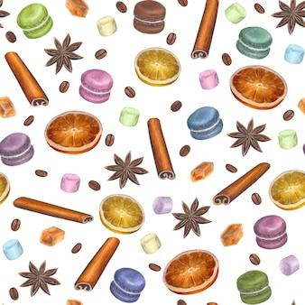 Рождественский красочный фон с акварельной рисованной анисовыми звездами, палочками корицы, кубиками сахара, ломтиками цитрусовых, макаронами, зефиром и кофейными зернами на белой поверхности