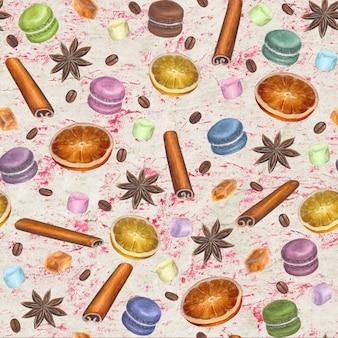 Рождественский красочный фон с акварельной рисованной анисовыми звездами, палочками корицы, кубиками сахара, ломтиками цитрусовых, макаронами, зефиром и кофейными зернами