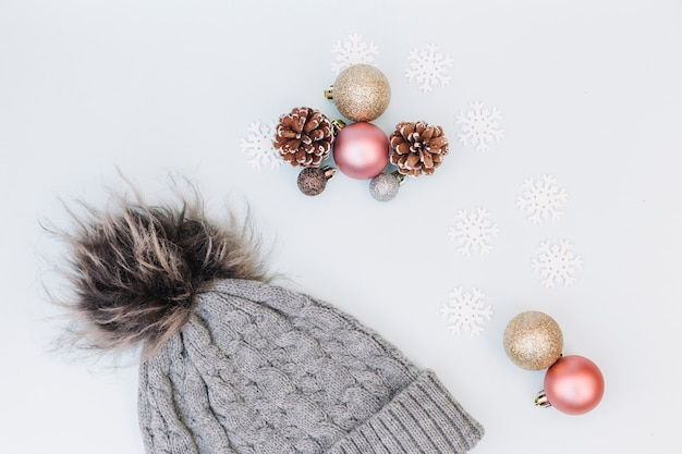 Christmas composition of baubles with cap