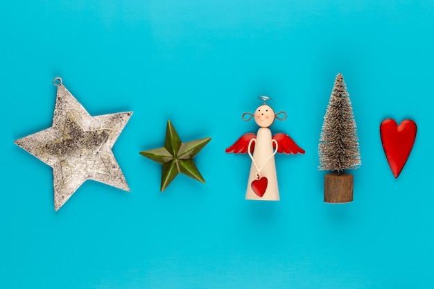 Christmas composition christmas decorations on color background flat lay, top view, copy space.