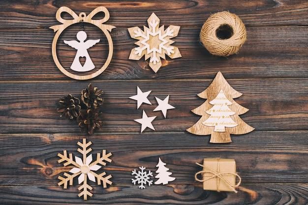 Christmas composition. christmas snowflakes, christmas tree and angel